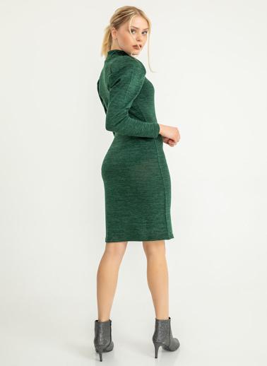 Foremia Kolları Balon Yarım Balıkçı Triko Elbise Yeşil